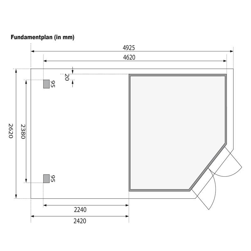 Karibu Gartenhaus  Goldendorf 5  im Set mit Anbaudach  2,40 m Breit und einer 19 mm Rückwand terragrau