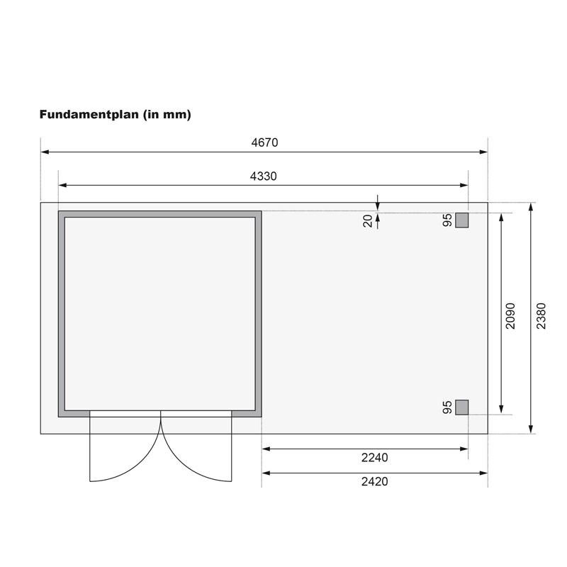 Karibu Holz-Gartenhaus Mühlendorf 2 mit Anbaudach 2,40m und Rückwand - 19 mm Schraub-/Stecksystem - terragrau