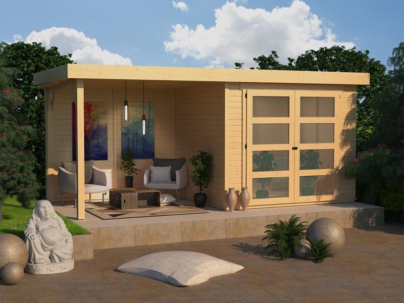 Karibu Gartenhaus Mühlendorf 3  im Set mit Anbaudach 2,40 m Breite und einer 19 mm Rückwand naturbelassen