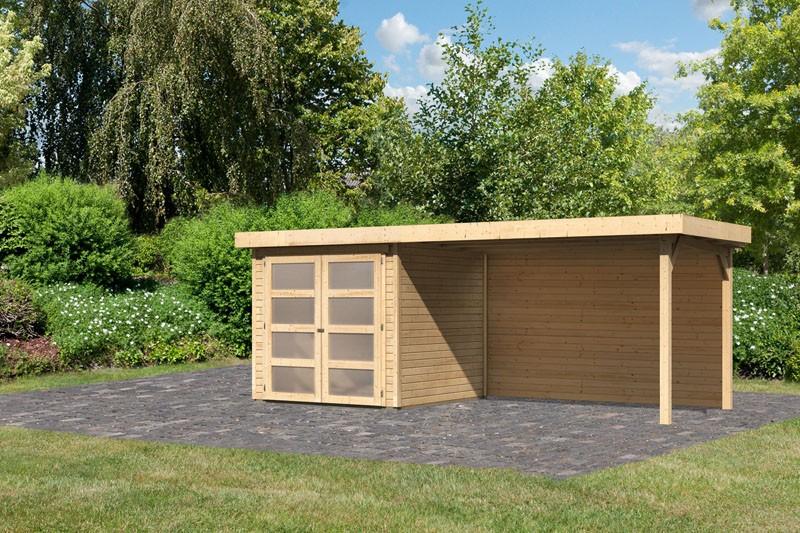 Karibu Gartenhaus Mühlendorf 2  im Set mit Anbaudach 2,80 m Breite und einer 19 mm Rückwand naturbelassen