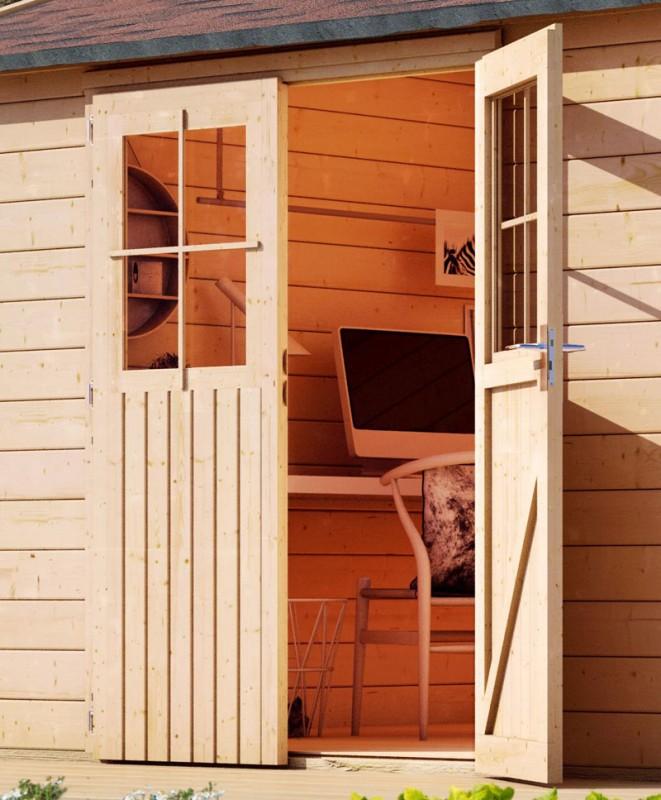 Karibu Gartenhaus Kerpen 1,5  im Set mit Anbaudach 2,60 m Breite und einer 28mm Rückwand naturbelassen