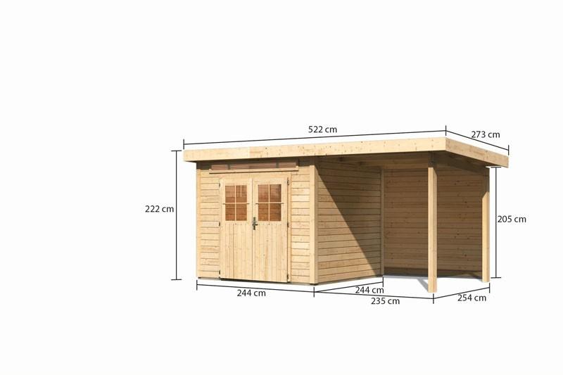 Karibu Gartenhaus Kerpen 2 im Set mit Anbaudach 2,60 m Breite und einer 28mm Rückwand naturbelassen