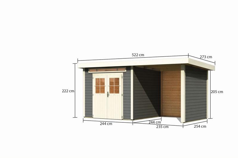 Karibu Gartenhaus Kerpen 2 im Set mit Anbaudach 2,60 m Breite und 28mm Seiten- und Rückwand terragrau