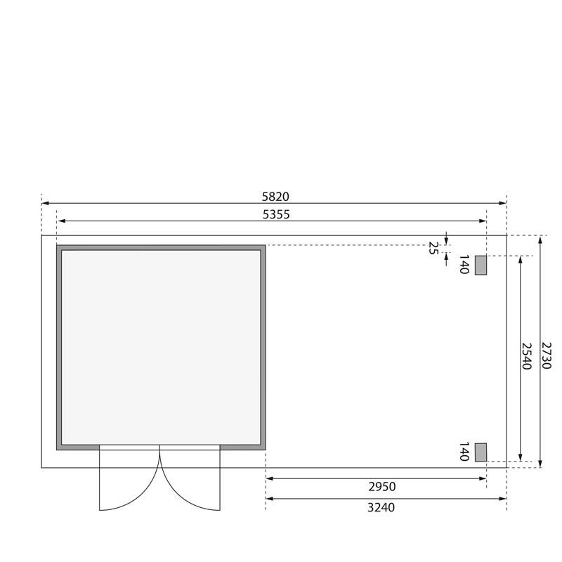 Karibu Gartenhaus Kerpen 2 im Set mit Anbaudach 3,20 m Breite und einer 28 mm Rückwand terragrau