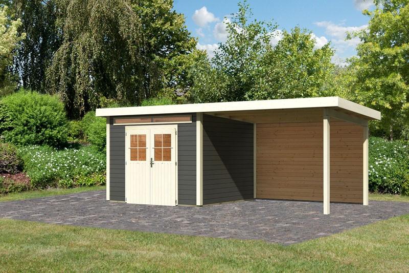Karibu Gartenhaus Kerpen 3 im Set mit Anbaudach 3,20 m Breite und einer 28 mm Rückwand terragrau