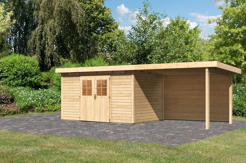 Karibu Gartenhaus Kerpen 5 im Set mit Anbaudach 3,20 m Breite und einer 28 mm Rückwand naturbelassen