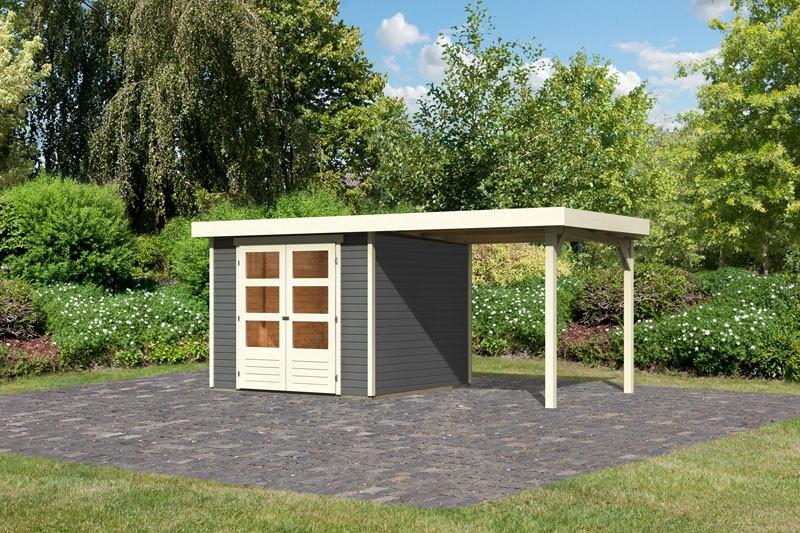 Karibu Gartenhaus Askola 3,5  im Set mit Anbaudach 2,40  m Breite terragrau