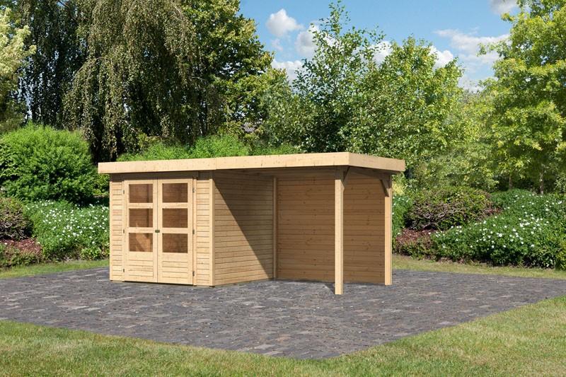 Karibu Gartenhaus Askola 2 im Set mit Anbaudach 2,40 m Breite und 19 mm  Rückwand naturbelassen
