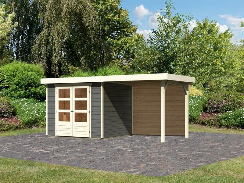 Woodfeeling Holz-Gartenhaus Askola 3 mit Anbaudach 2,4m + Rückwand - 19 mm Schraub-/Stecksystem - terragrau