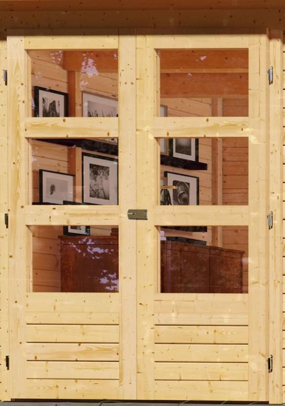 Woodfeeling Holz-Gartenhaus Askola 4 mit Anbaudach 2,4m + Lamellenwänden - 19 mm Schraub-/Stecksystem - naturbelassen