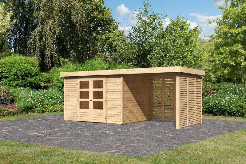 Karibu Gartenhaus Askola 5  im Set mitAnbaudach 2,40 m Breite und Feuerholzoption naturbelassen