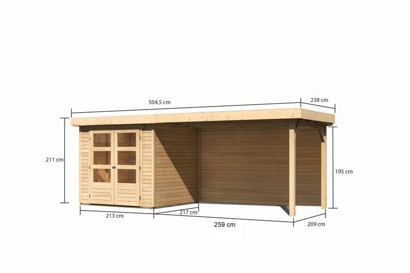 Woodfeeling Holz-Gartenhaus Askola 2 mit Anbaudach 2,8m + Rückwand - 19 mm Schraub-/Stecksystem - naturbelassen
