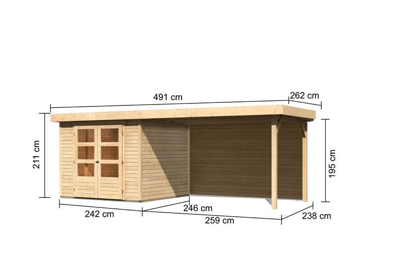 Karibu Gartenhaus Askola 3,5  im Set mit Anbaudach 2,80 m Breite und 19 mm Rückwand naturbelassen