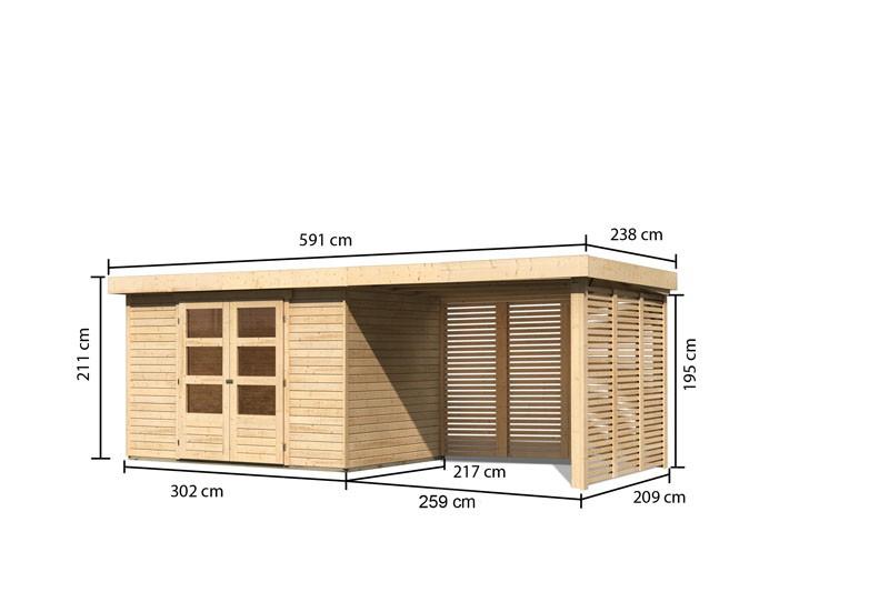 Karibu Gartenhaus Askola 4  im Set mit Anbaudach 2,80 m Breite und Feuerholzoption naturbelassen