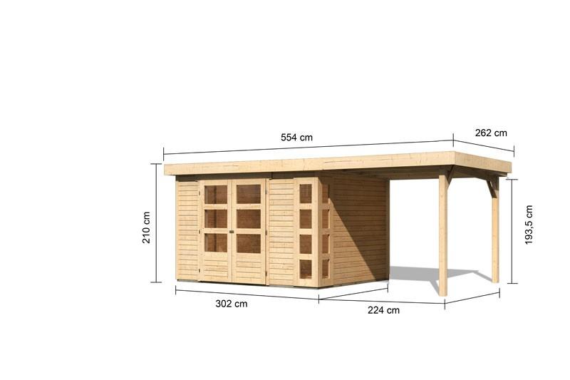 Karibu Gartenhaus Kerko 5  im Set mit Anbaudach 2,40 m Breite naturbelassen