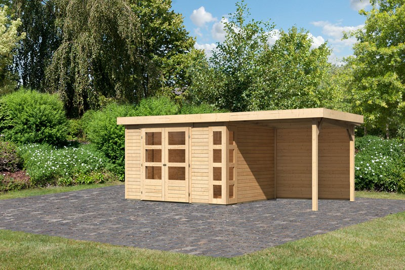 Karibu Gartenhaus Kerko 5  im Set mit Anbaudach 2,40 m Breite und 19 mm  und Rückwand naturbelassen