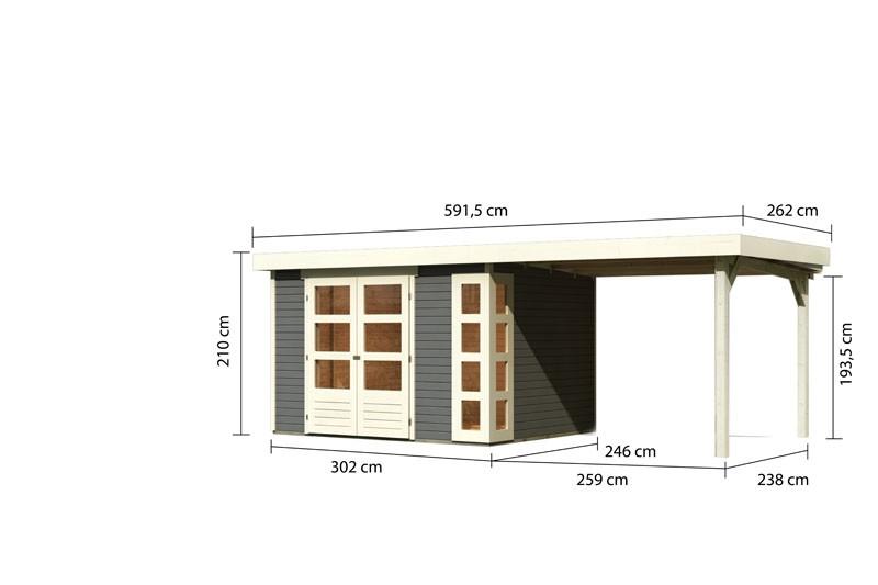 Karibu Gartenhaus Kerko 5  im Set mit Anbaudach 2,80 m Breite terragrau