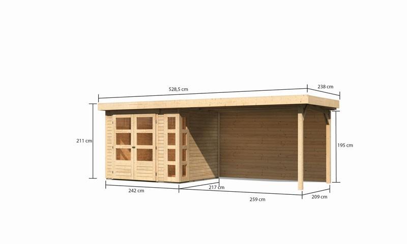 Karibu Gartenhaus Kerko 3  im Set mit Anbaudach 2,80 m Breite und 19 mm  und Rückwand naturbelassen