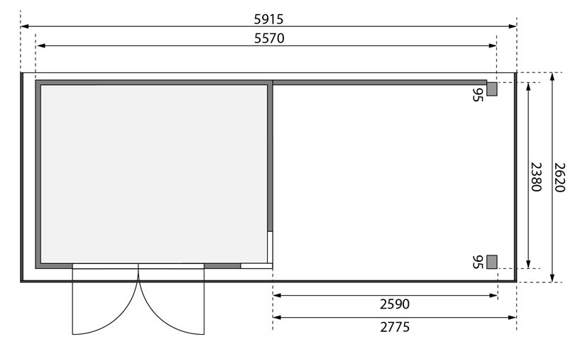 Karibu Gartenhaus Kerko 5  im Set mit Anbaudach 2,80 m Breite und 19 mm  und Rückwand naturbelassen