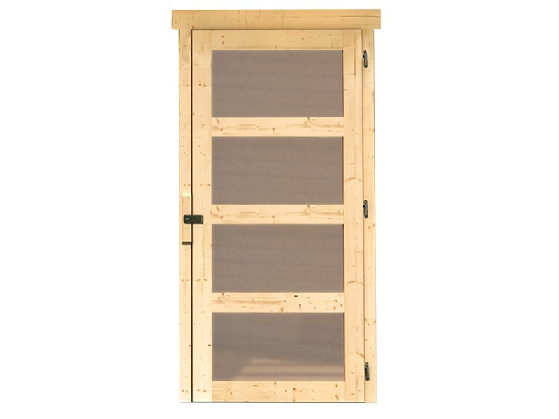 Woodfeeling Holz-Gartenhaus Schwandorf 3 mit Anbaudach 2,4m + Rückwand - 19 mm Schraub-/Stecksystem - naturbelassen