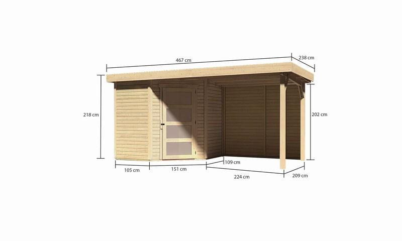 Karibu Gartenhaus Schwandorf 3 im Set mit Anbaudach 2,40 m Breite und 19 mm  Rückwand naturbelassen