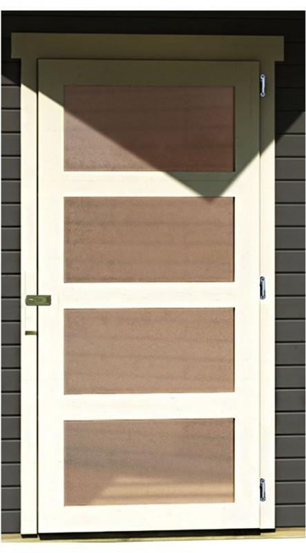 Karibu Gartenhaus Schwandorf 5 im Set mit Anbaudach 2,80 m Breite terragrau