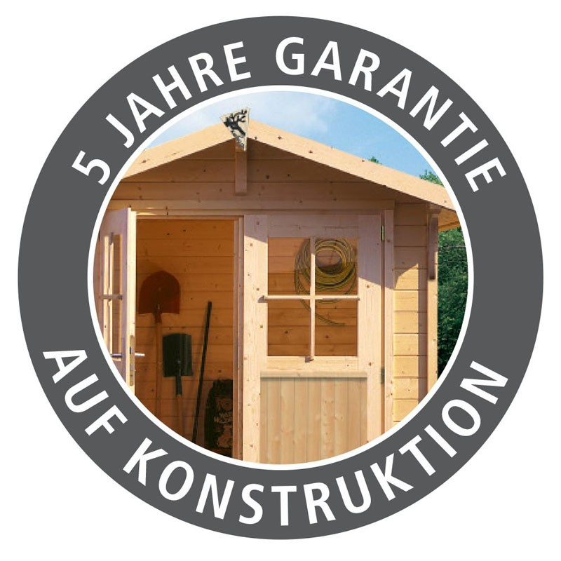 Karibu Gartenhaus Kandern 3 im Set mit Anbaudach 2,6 m Breite und 28mm Rückwand naturbelassen