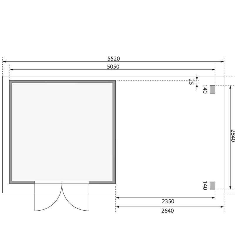 Karibu Gartenhaus Kandern 6 im Set mit Anbaudach 2,6 m Breite und 28mm Rückwand terragrau