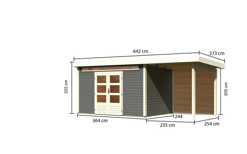 Karibu Gartenhaus Kandern 7 im Set mit Anbaudach 2,6 m Breite und  28mm Rückwand terragrau