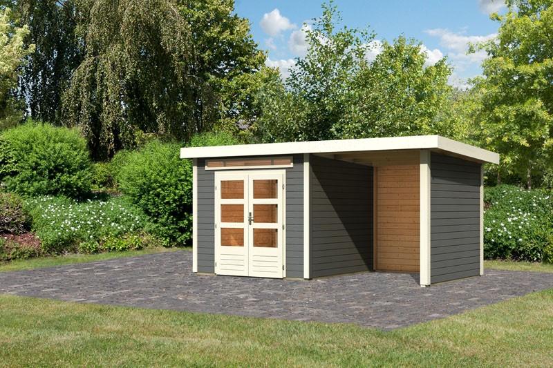 Karibu Gartenhaus Kandern 3 im Set mit Anbaudach 2,6 m Breite und 28mm Seiten- und Rückwand terragrau