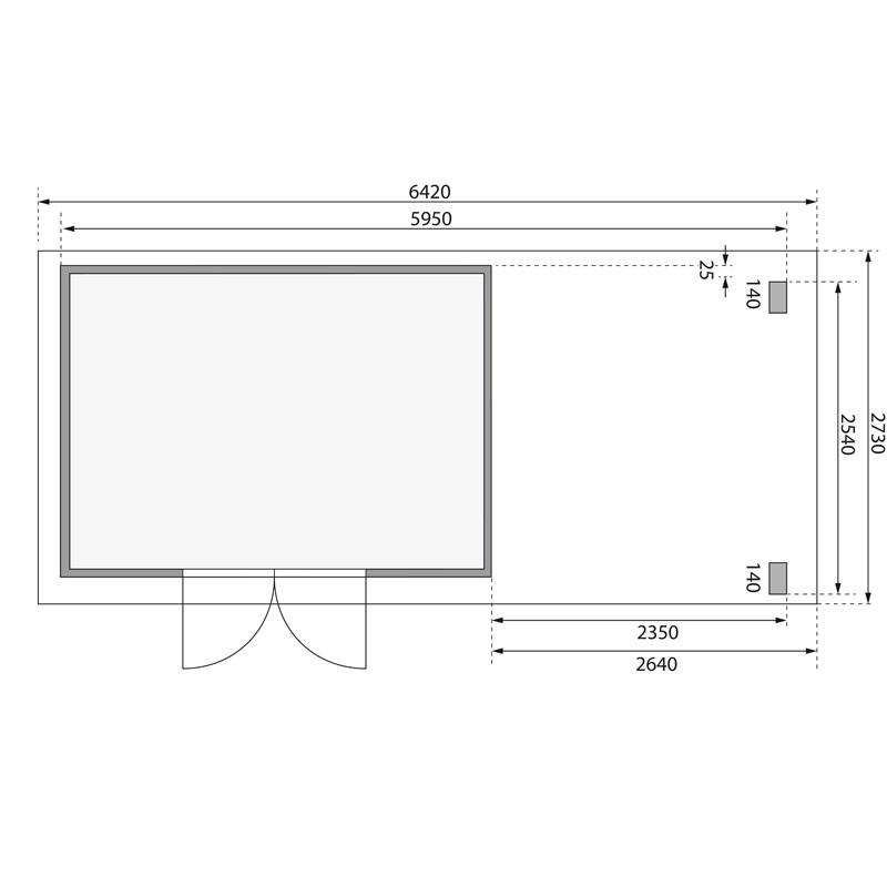 Karibu Gartenhaus Kandern 7 im Set mit Anbaudach 2,6 m Breite und  28 mm Seiten- und Rückwand terragrau