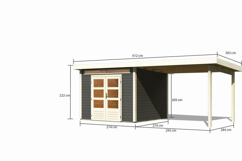 Karibu Gartenhaus Kandern 6 im Set mit Anbaudach 3,2 m Breite terragrau