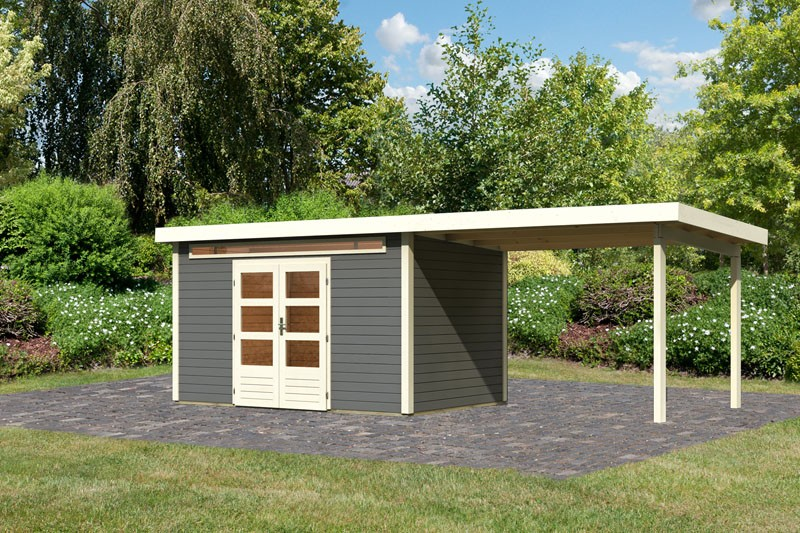 Karibu Gartenhaus Kandern 7 im Set mit Anbaudach 3,2 m Breite terragrau