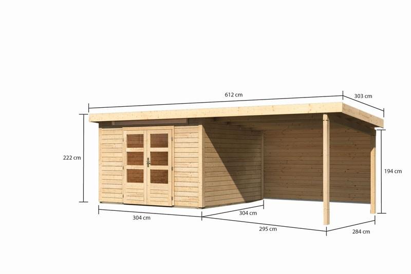 Karibu Gartenhaus Kandern 6,5 im Set mit Anbaudach 3,2 m Breite und 28 mm  Rückwand naturbelassen