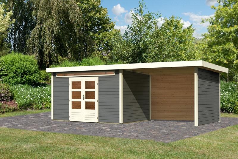 Karibu Gartenhaus Kandern 7 im Set mit Anbaudach 3,2 m Breite und 28 mm Seiten- und Rückwand terragrau