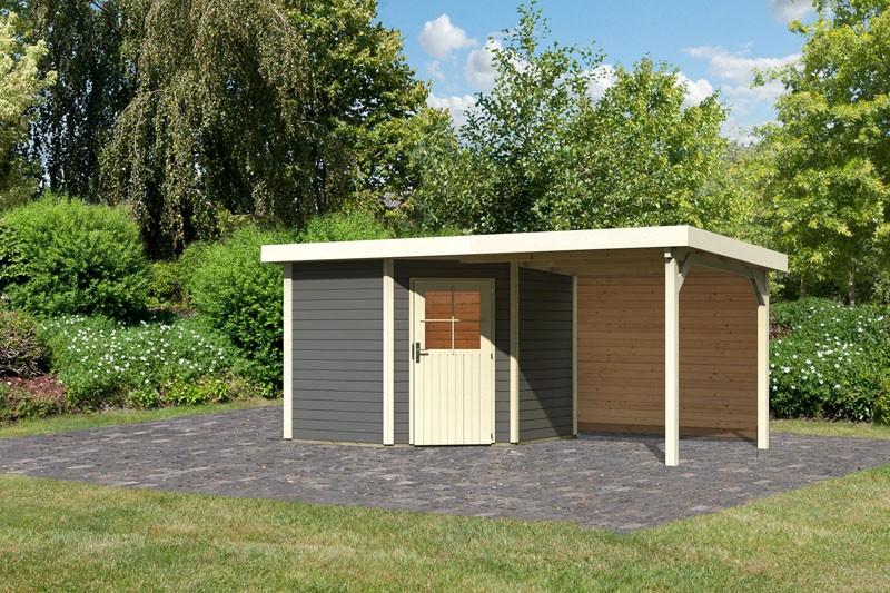 Karibu Gartenhaus Neuruppin 2 im Set mit einem Anbaudach Breite 2,6 m und 28mm Rückwand terragrau