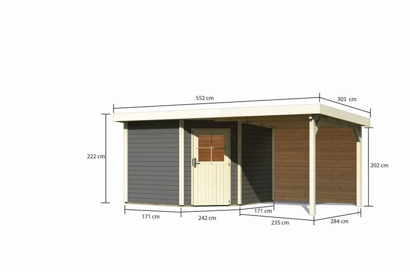 Karibu Gartenhaus Neuruppin 3 im Set mit einem Anbaudach Breite 2,6 m und 28mm Rückwand terragrau