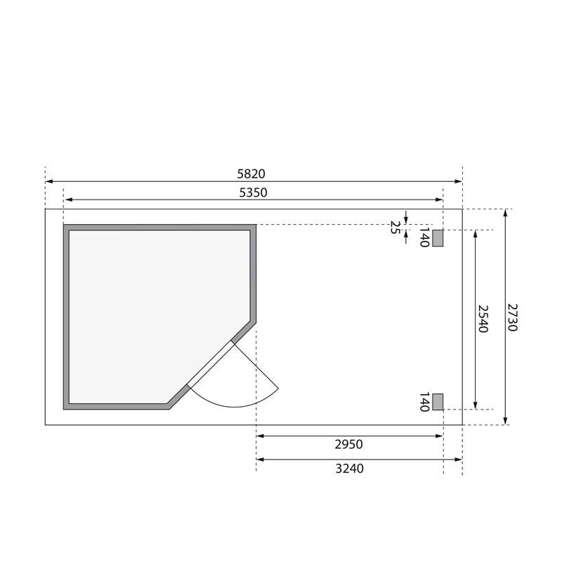 Karibu Gartenhaus Neuruppin 2 im Set mit einem Anbaudach Breite 3,2 m und 28mm Rückwand naturbelassen