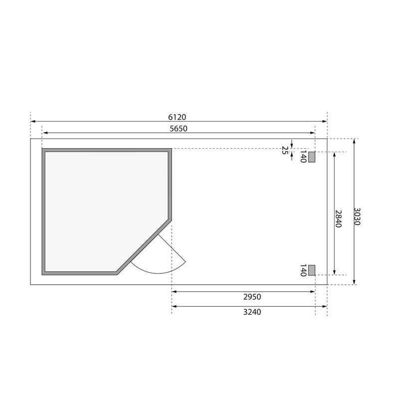 Karibu Gartenhaus Neuruppin 3 im Set mit einem Anbaudach Breite 3,2 m und 28mm Rückwand naturbelassen