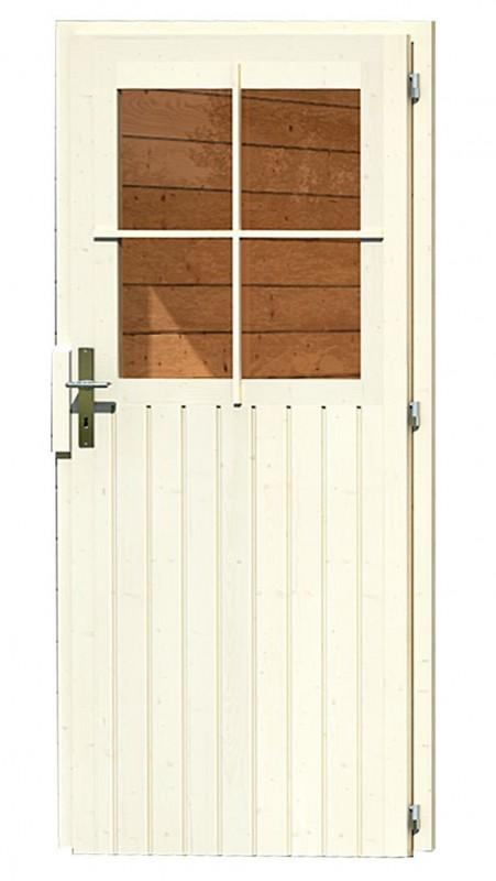 Karibu Gartenhaus Neuruppin 3 im Set mit einem Anbaudach Breite 3,2 m und 28mm Rückwand terragrau
