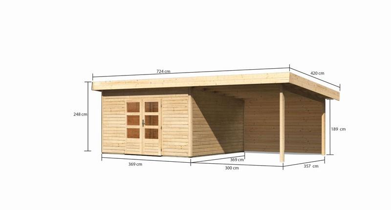Karibu Gartenhaus Northeim 5 im Set mit einem Anbaudach Breite 3,3 m und 28mm  Rückwand naturbelassen