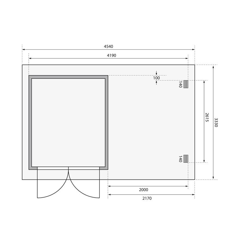 Karibu Gartenhaus Bastrup 4 im Set mit Anbaudach 2 m  breit, 28 mm Rückwand naturbelassen