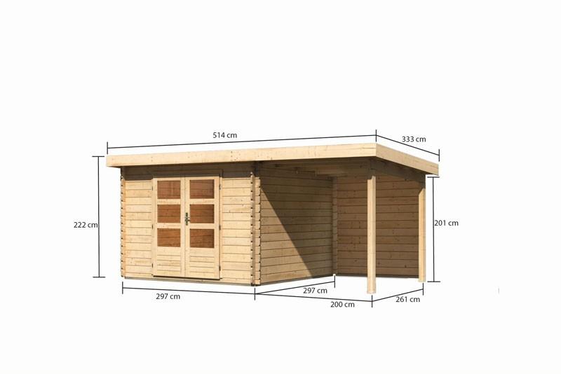 Karibu Gartenhaus Bastrup 5 im Set mit Anbaudach 2 m breit, 28 mm Rückwand naturbelassen
