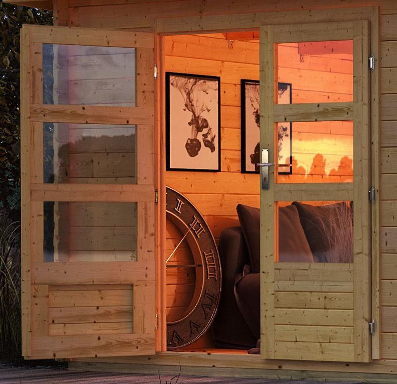 Karibu Gartenhaus Bastrup 7 im Set mit Anbaudach 2 m breit, 28 mm Rückwand naturbelassen