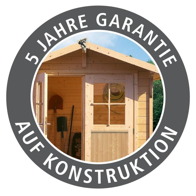 Karibu Gartenhaus Bastrup 5 im Set mit Anbaudach 3 m breit, 28 mm Rückwand naturbelassen