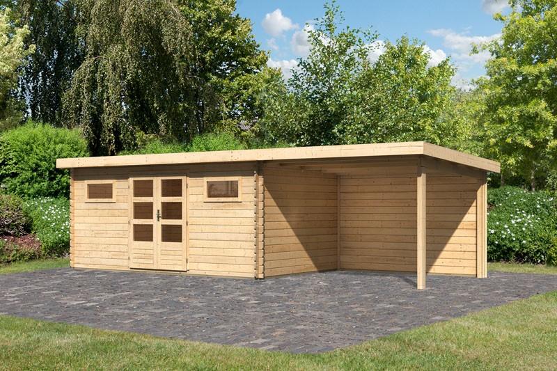 Karibu Gartenhaus Bastrup 10 im Set mit Anbaudach 3 m breit, 28 mm Rückwand naturbelassen