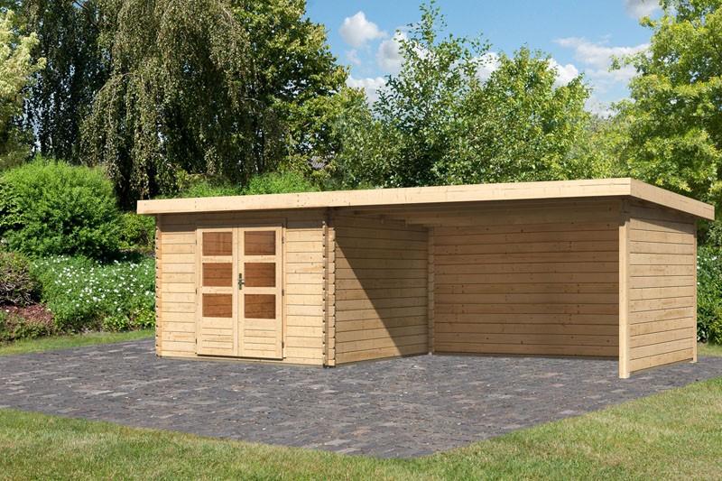 Karibu Gartenhaus Bastrup 5 im Set mit Anbaudach 4 m breit, 28 mm Seiten - und Rückwand naturbelassen