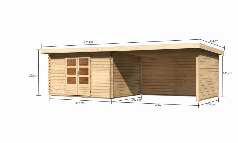 Karibu Gartenhaus Bastrup 7 im Set mit Anbaudach 4 m breit, 28 mm Seiten - und Rückwand naturbelassen