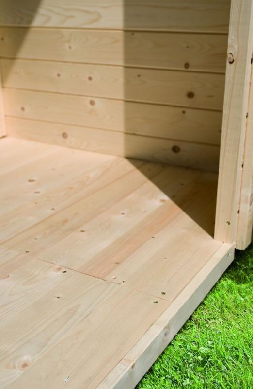 Karibu Gartenhaus Bastrup 10 im Set mit Anbaudach 4 m breit, 28 mm Seiten - und Rückwand naturbelassen