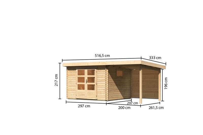 Karibu Gartenhaus  Trittau 3 im Set mit Anbaudach 2,2 m naturbelassen